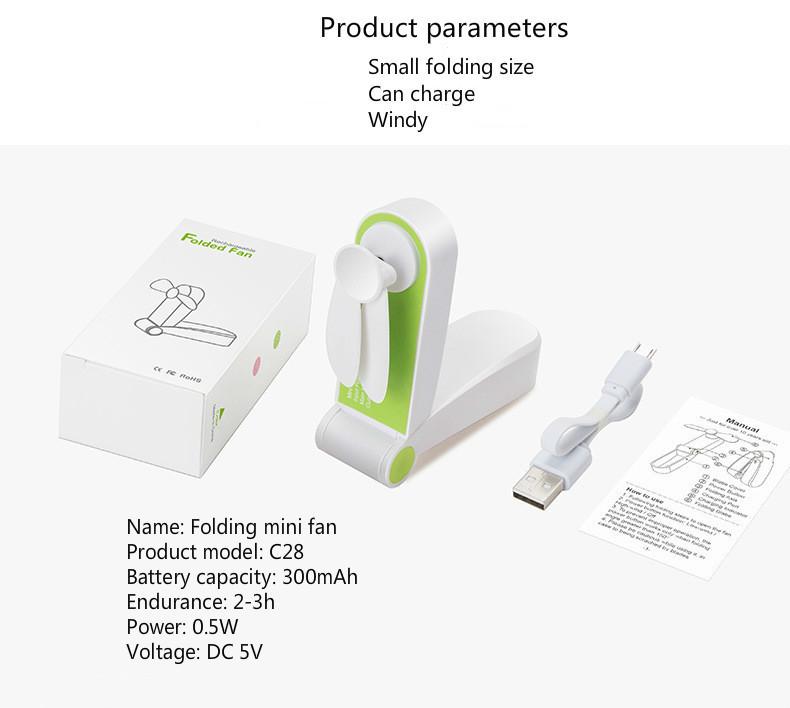 Mini Electric Portable Fold Fan